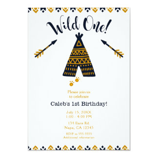 Wildes 1. Geburtstags-Blau u. Goldtepee-Party Karte