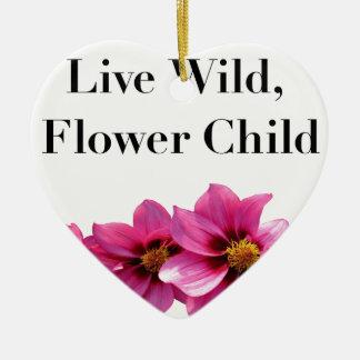 Wildes Blumen-lebhaftkind Keramik Herz-Ornament