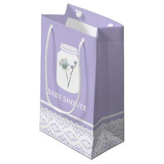 Wildes Blumen-Maurer-Glas und Spitze-Baby-Dusche Kleine Geschenktüte