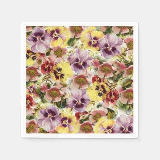 Wildes Blumenmuster des Sommer-Stiefmütterchens Serviette