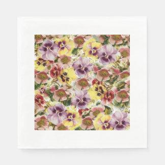 Wildes Blumenmuster des Sommer-Stiefmütterchens Servietten