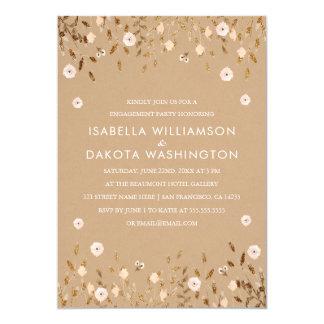 Wildes Blüten-Goldelegantes Verlobungs-mit Karte