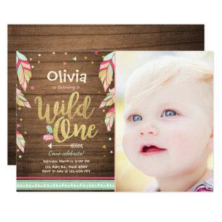 Wildes erstes Mädchen Geburtstag der 12,7 X 17,8 Cm Einladungskarte