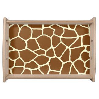 Wildes Giraffen-Muster-Tierdruck Tablett