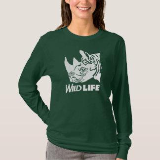 Wildes Lebens-TierShirt, schwarzer Rhino T-Shirt