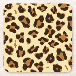 Wildes Leopardtierhaut-Druckbraun Rechteckiger Pappuntersetzer