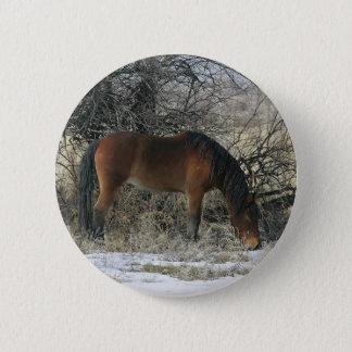 Wildes Mustang-Pferd im Schnee 1 Runder Button 5,1 Cm