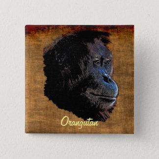 Wildes Orang-Utan Rot äfft Primat-Kunst-Abzeichen Quadratischer Button 5,1 Cm