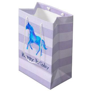 Wildes Pferd im blauen und lila Mittlere Geschenktüte