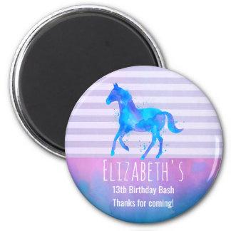 Wildes Pferd im blauen und lila Runder Magnet 5,1 Cm