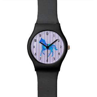 Wildes Pferd im blauen und lila Watercolor Armbanduhr