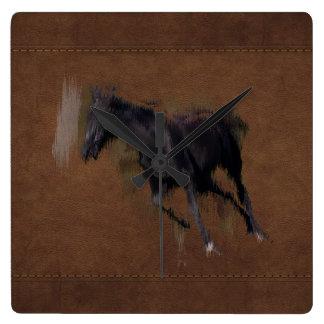 """Wildes Pferd """"Jahr des Pferd"""" pferdeartige Grafik Quadratische Wanduhr"""