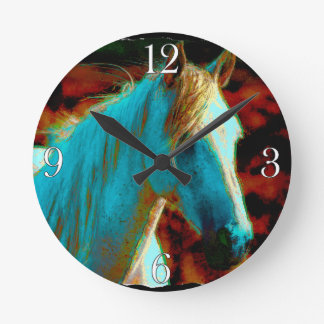 """Wildes Pferd """"Jahr des Pferd"""" pferdeartige Grafik Runde Wanduhr"""
