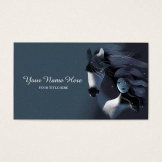 Wildes Pferd und ein Mädchen Visitenkarten