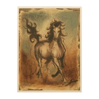 Wildes Pferd und warme Farben Holzwanddeko