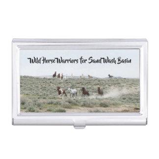 Wildes PferdeKrieger für Sand-Waschbecken Visitenkarten Dose