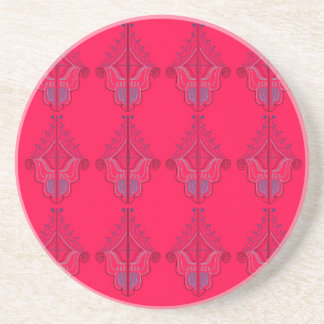 Wildes Rot des Entwurfs-Mandalases Sandstein Untersetzer