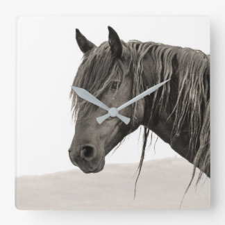 Wildes Stallions-Porträt Quadratische Wanduhr