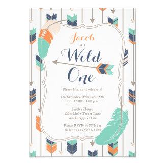 Wildes Stammes- Pfeil-Geburtstags-Party-blaues Karte