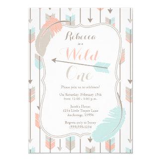 Wildes Stammes- Pfeil-Geburtstags-Party-Rosa-Grau Karte