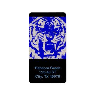 wildes Tier des Grunge abstrakter blauer Vintager Adress Aufkleber