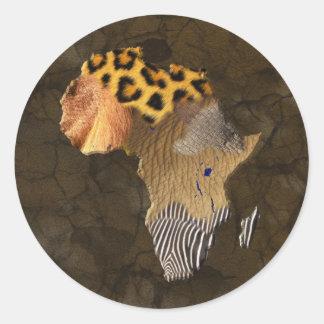 Wildes Tier masert Karte von AFRIKA-Aufkleber Runder Aufkleber