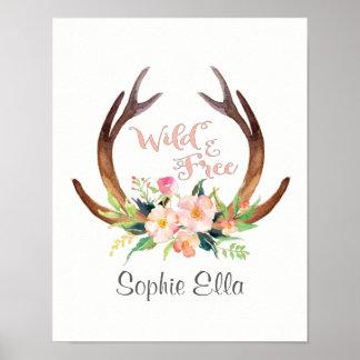 Wildes und freies Watercolor-Rotwild-Geweih und Poster