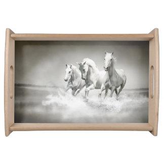 Wildes weiße PferdeServiertablett Tablett