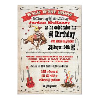 Wildes Westshow-Geburtstags-Party 12,7 X 17,8 Cm Einladungskarte