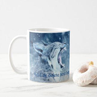 Wildkatze im Schnee Kaffeetasse