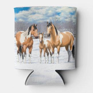 Wildleder-Farben-Pferde im Schnee Dosenkühler