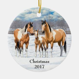 Wildleder-Farben-Pferde im Schnee Keramik Ornament