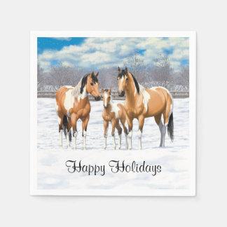 Wildleder-Farben-Pferde im Schnee Papierserviette
