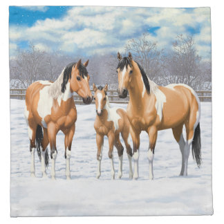 Wildleder-Farben-Pferde im Schnee Serviette