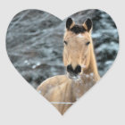 Wildleder-Pferdewinter Herz-Aufkleber