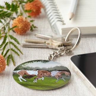Wildleder Tobiano Farben-Pferde Schlüsselanhänger
