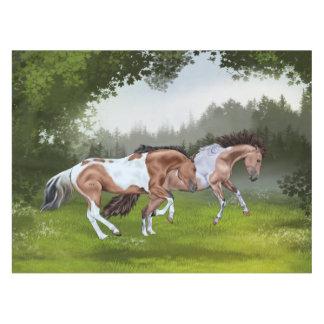 Wildleder Tobiano Farben-Pferde Tischdecke