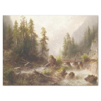 Wildnis-Alpen-Gebirgsstrom-Brücken-Seidenpapier Seidenpapier