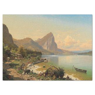Wildnis-Alpen-Mountainsee-Weg-Seidenpapier Seidenpapier