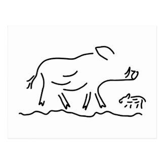 wildschwein frischling keiler wildsau postkarte