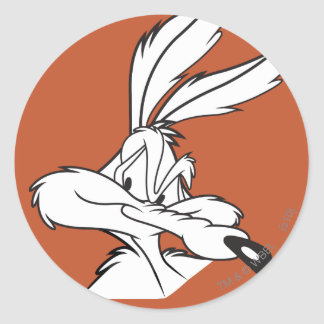 Wile E. Coyote Looking hinterlistig Runder Aufkleber