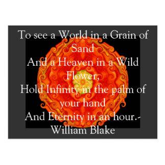 """William Blake """"Welt in einem Korn des Sandes"""" Postkarte"""