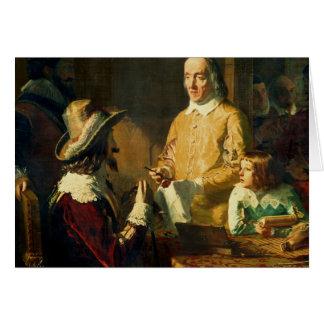 William Harvey, der zu Charles I demonstriert Grußkarte