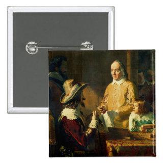 William Harvey, der zu Charles I demonstriert Quadratischer Button 5,1 Cm
