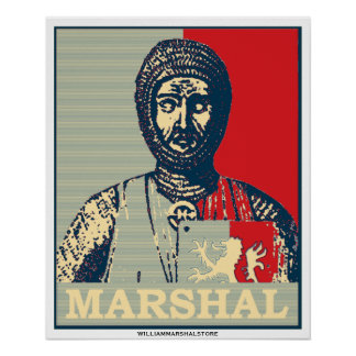 William-Marschall-Spiegel des Chivalry-roten u. bl Poster