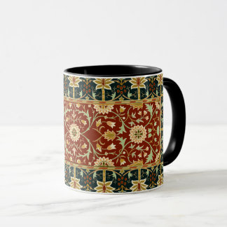 William Morris-Blumenmuster-rotes Goldtief Blau Tasse