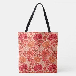 William Morris-Chrysanthemen, korallenrote Orange Tasche