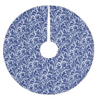 William Morris-Distel-Damast, Kobalt-Blau u. Weiß Polyester Weihnachtsbaumdecke