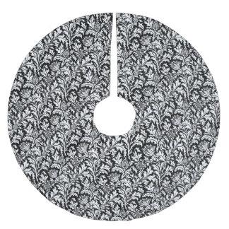 William Morris-Distel-Damast, Schwarzweiss Polyester Weihnachtsbaumdecke