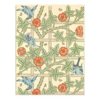 William Morris-Gitter-Muster Postkarte